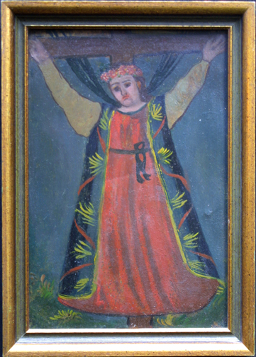 """in frame Retablo: """"Saint on Cross""""  early 1900s by anonymous Mexican artist  oil paint on tin  10.5"""" x 7.5""""  $600  #11777"""