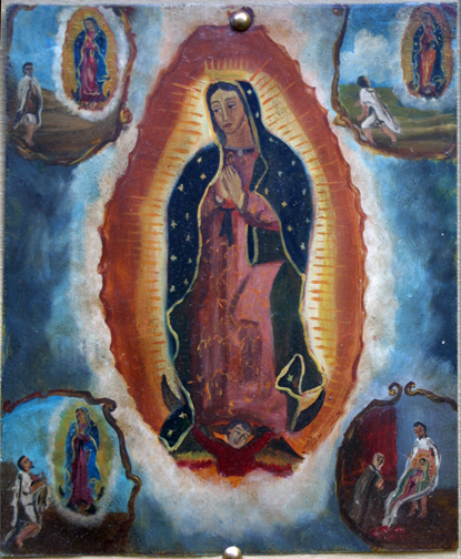 """Retablo: """"Miracle of the Cloak -Virgin of Guadalupe Appearing to Juan Diego"""" late 1800s by anonymous Mexican artist oil paint on tin 12.5"""" x 10"""" in gold leaf frame $1200 #11779"""