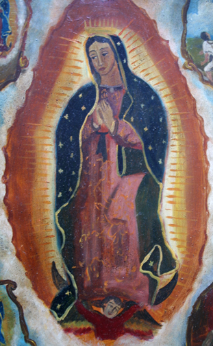 """detail Retablo: """"Miracle of the Cloak -Virgin of Guadalupe Appearing to Juan Diego"""" late 1800s by anonymous Mexican artist oil paint on tin 12.5"""" x 10"""" in gold leaf frame $1200 #11779"""