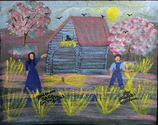 """Good Broom Sage"" (for House Brooms) by Annie Wellborn acrylic on tar paper 17.5"" x 22"" $350 unframed #11372"