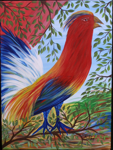 """Parrot"" by Steph acrylic on canvas 24' x 18"" in black frame $325 #11423"