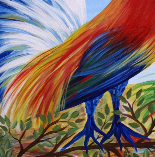 "detail ""Parrot"" by Steph acrylic on canvas 24' x 18"" in black frame $325 #11423"
