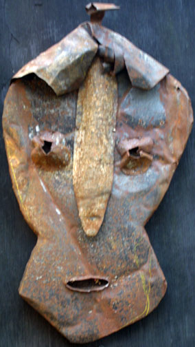 """""""The Saturday Friend"""" by Jerry Coker  shaped found metals over wood  18.5"""" x 11"""" x 3""""   $500  #11646"""