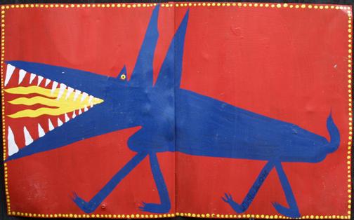 """""""Blue Dragon"""" d. 2-10-99 by W. D. Harden acrylic on tin 14.25"""" x 23"""" $250 #11653"""