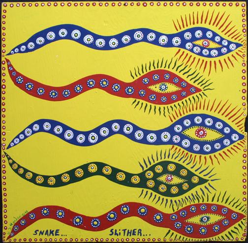 """""""Snake Slitter""""  dated 1998 by W. D. Harden  enamel on wood 23.5"""" x 24""""  unframed  $250  #11688"""