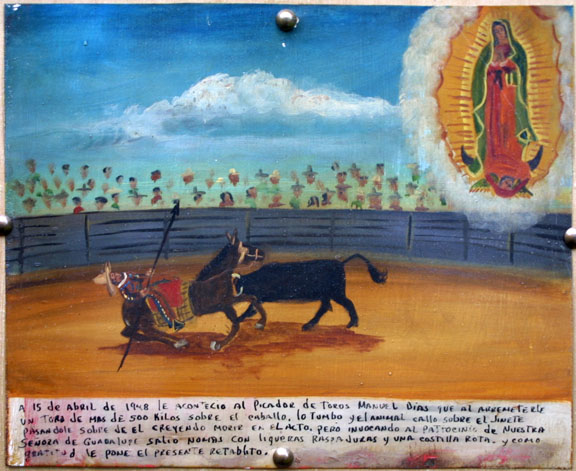 """Ex Voto: Picador Grateful to Survive Bull's Attack"""" dated April 15, 1948 by anonymous Mexican artist oil paint on tin 10"""" x 12"""" mounted on raw silk in brown ornate frame 14.5"""" x 16.75"""" $1400 #11864"""