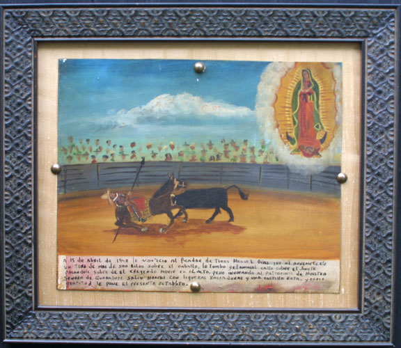 """With frame Ex Voto: Picador Grateful to Survive Bull's Attack"""" dated April 15, 1948 by anonymous Mexican artist oil paint on tin 10"""" x 12"""" mounted on raw silk in brown ornate frame 14.5"""" x 16.75"""" $1400 #11864"""