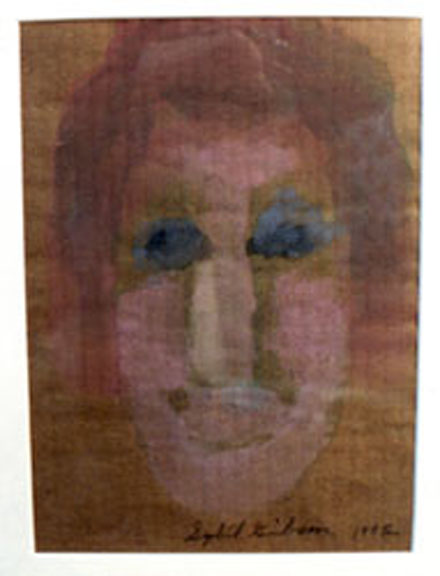 """""""Face-Man"""" c. 1992 by Sybil Gibson acrylic on cardboard ply 10"""" x 7.25"""" in white mat with light natural wood frame $500 #3506"""