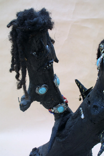 """detail """"Samson and Delilah"""" c. 1993 signed on bottom by Bessie Harvey wood, paint & found objects 22"""" x 15"""" x 9"""" $7000 #11318"""
