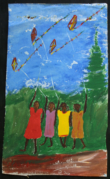 """""""Four Girls and Kites""""  c. 1990  by Woodie Long  acrylic on unstretched canvas  irr 26"""" x 15.75""""  $600  #11224"""