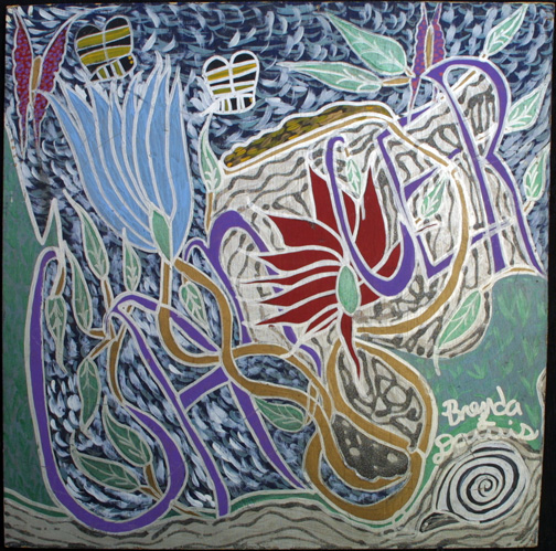 """""""Cancer-Who Dose it Affect-Everyone"""" by Brenda Davis  acrylic on wood  24"""" x 24""""  in black shadowbox frame  $850  #11872"""