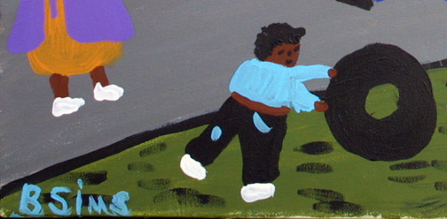 """""""Kids Playing""""  by Bernice Sims  acrylic on canvas  18"""" x 24"""" in black frame  $1250  #11874"""