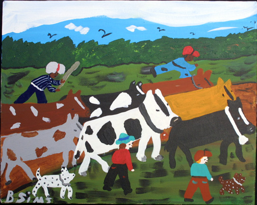 """""""Moving Cows""""  c.  1997 by Bernice Sims  acrylic on canvas 16"""" x 20""""  in black frame  $850   #11875"""