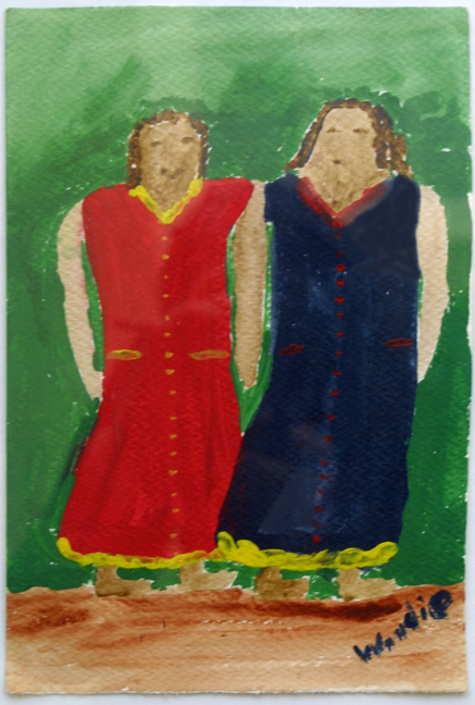 """""""Two Sisters""""  c. 1990    by Woodie Long  acrylic on paper  11"""" x 7.5""""    matted, white frame $420  #11914"""
