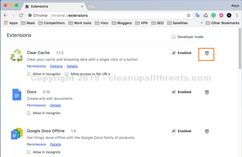 delete Advanced Mac Cleaner from mac chrome