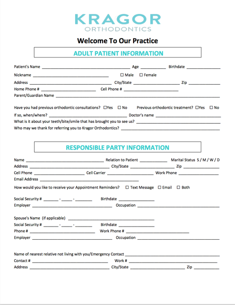 Adult new patient form page 1