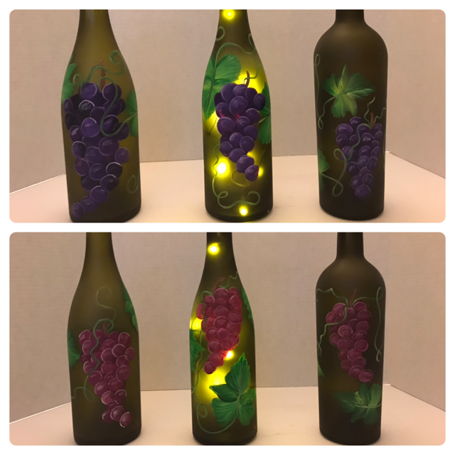 DOUBLE GRAPE CLUSTERS - Wine Bottle with Cork Lights