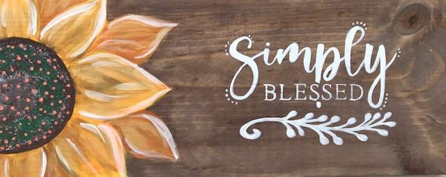 SIMPLY BLESSED SUNFLOWER on wood