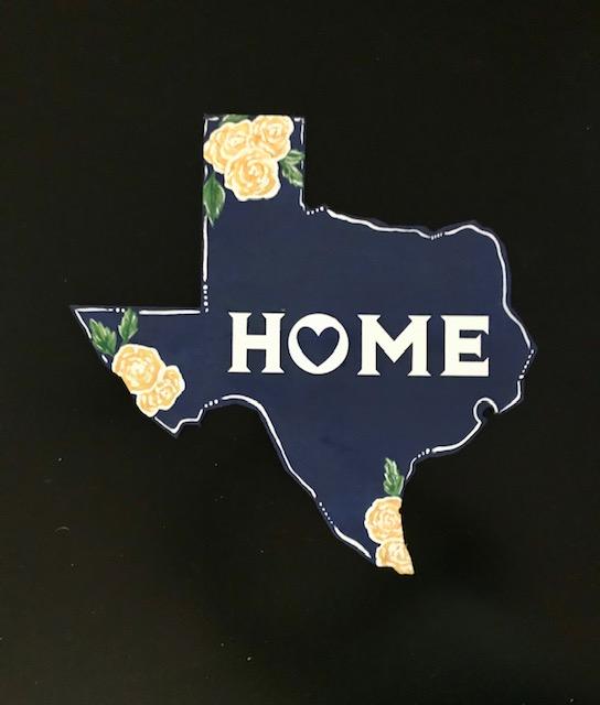 TX HOME Yellow Rose of Texas - wood cutout