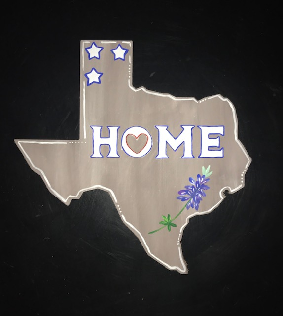 TX HOME Bluebonnet - wood cutout