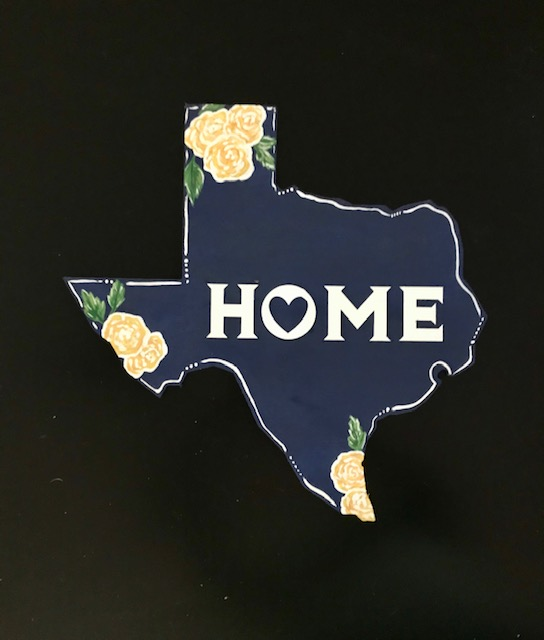 TX HOME Yellow Rose of Texas wood cutout