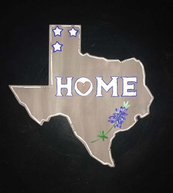 TX HOME Bluebonnet wood cutout