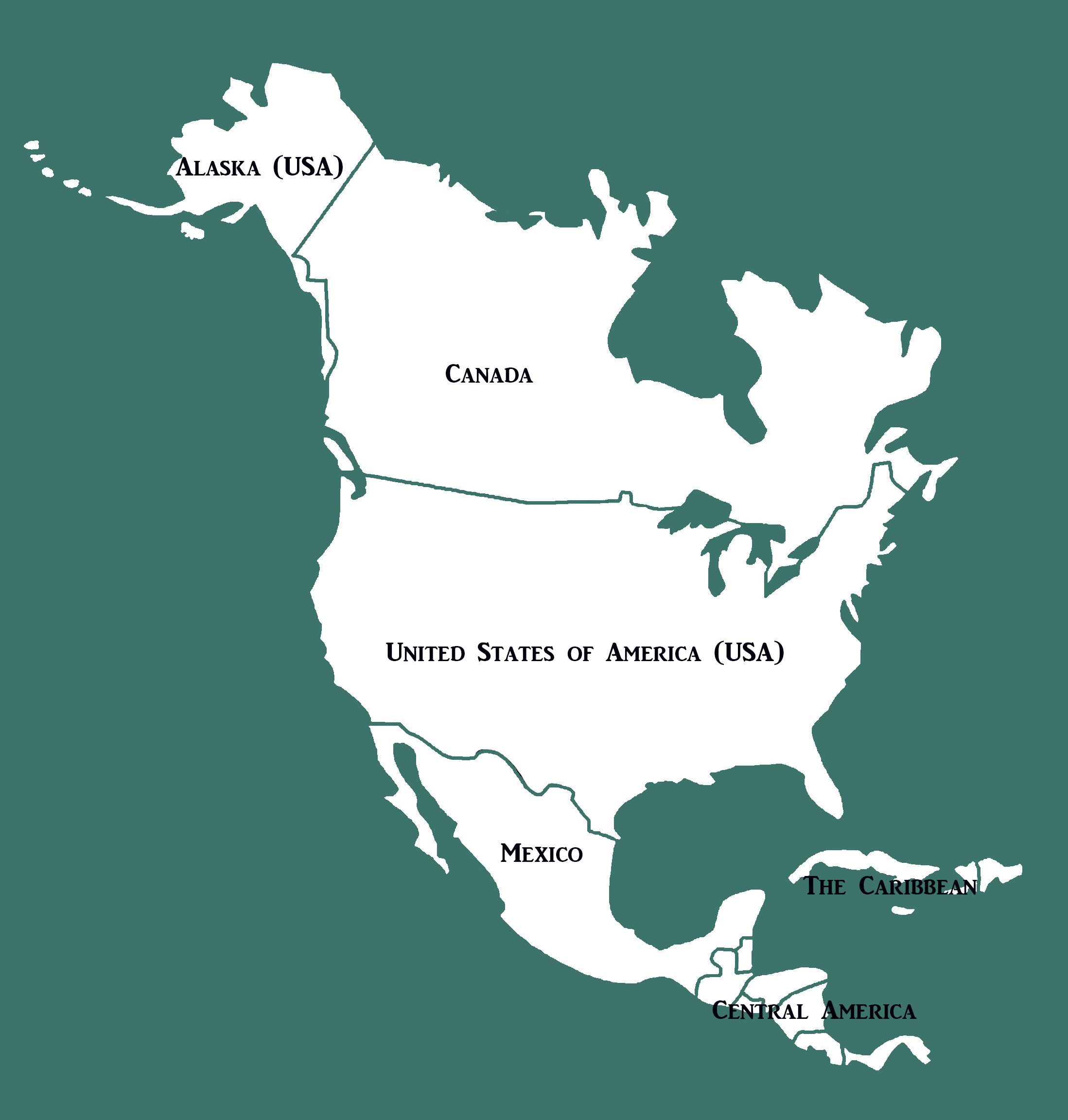 north america map with borders and names croped