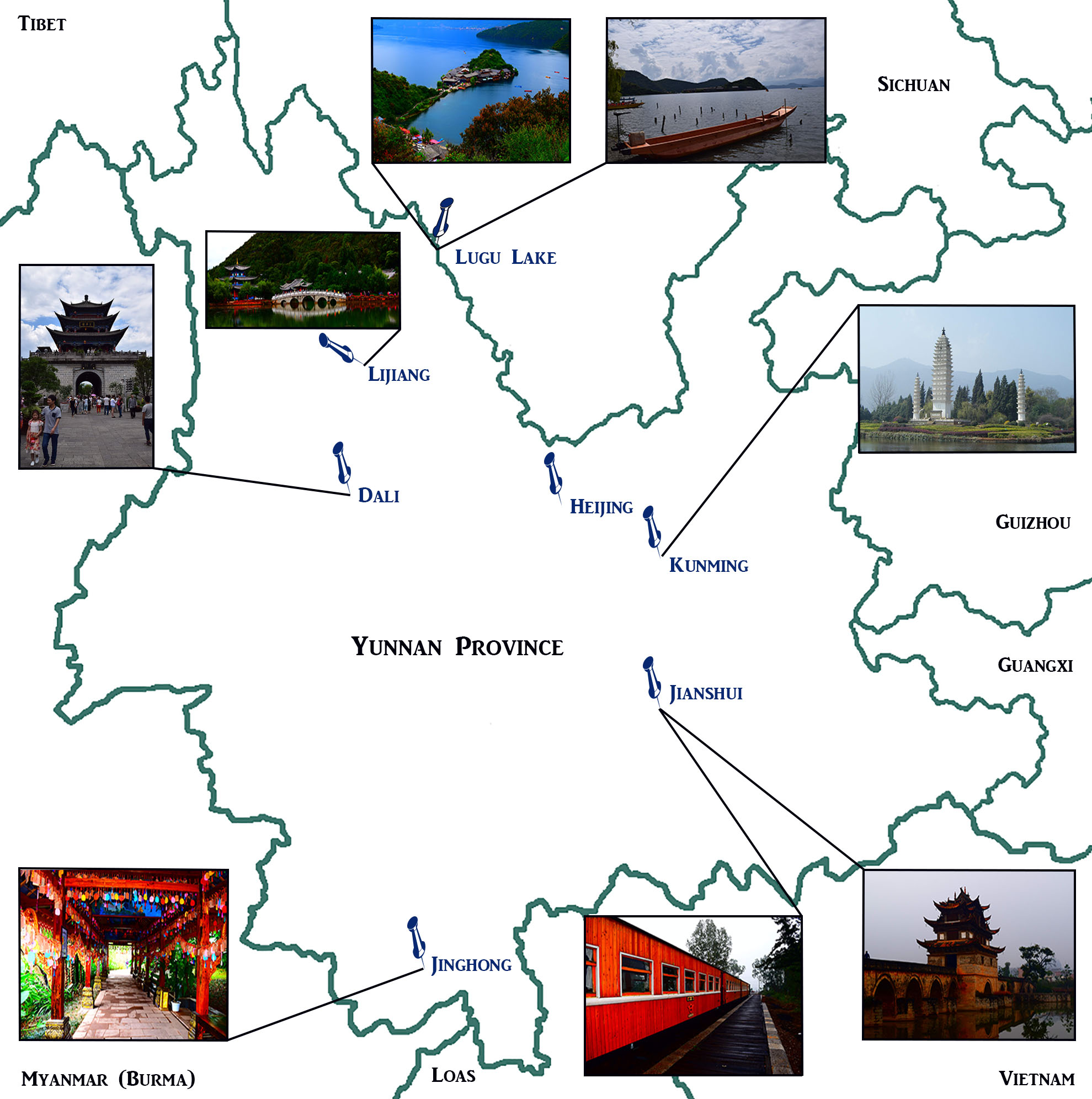 yunnan map with borders and pictures final