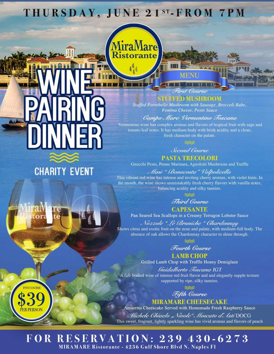 WINE PAIRING DINNER  – CHARITY EVENT – Thursday, June 21st from 7PM