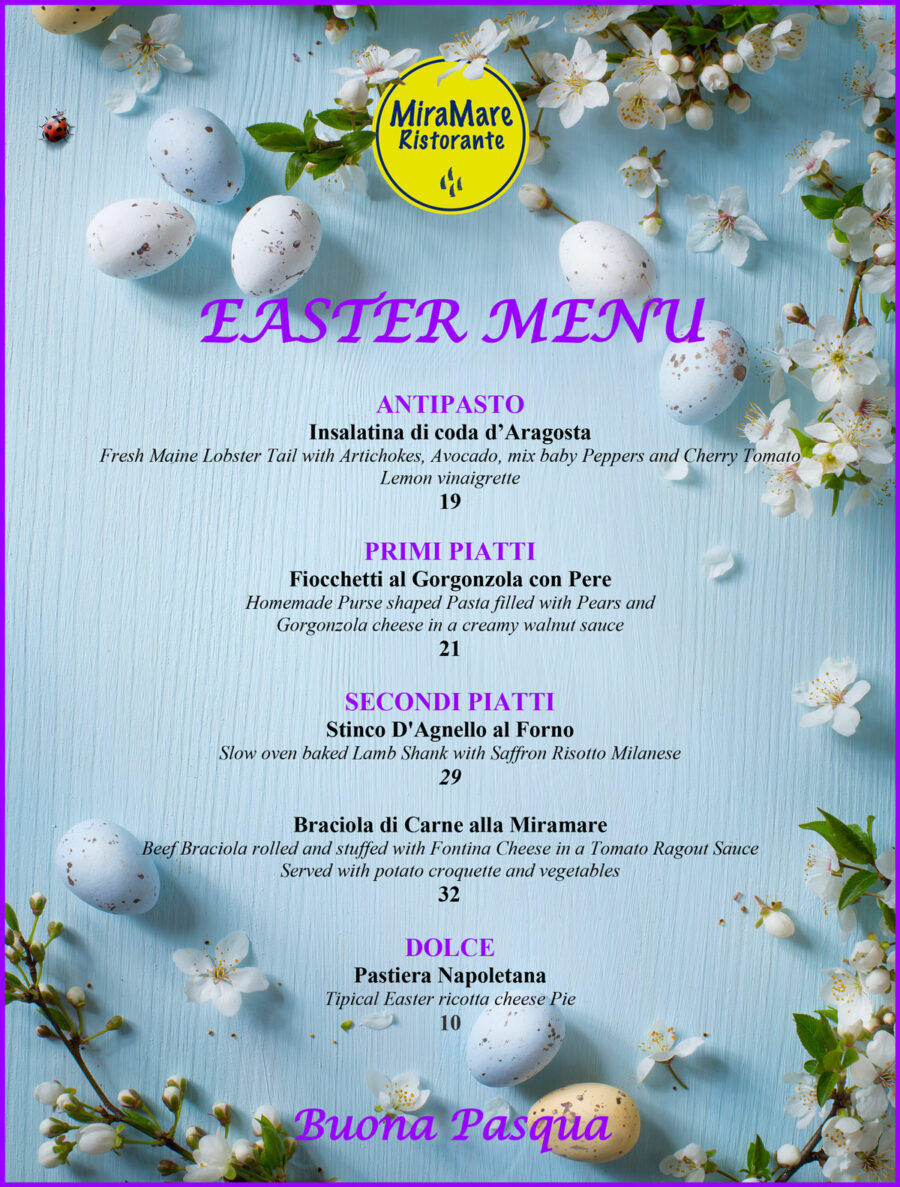 Easter Sunday Menu 2019