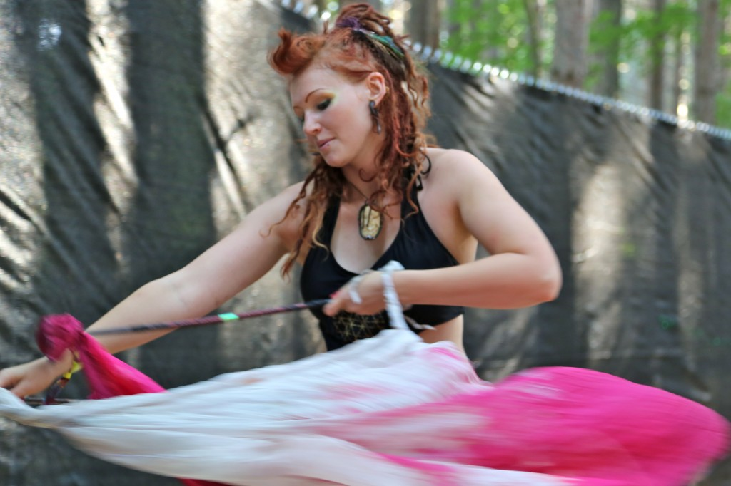 electric forest dancing redhead yoga