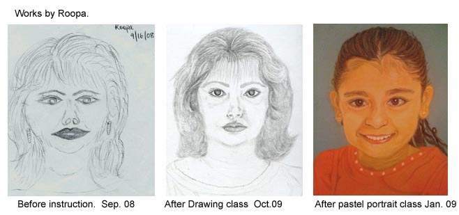 Adult student's progress in an art class