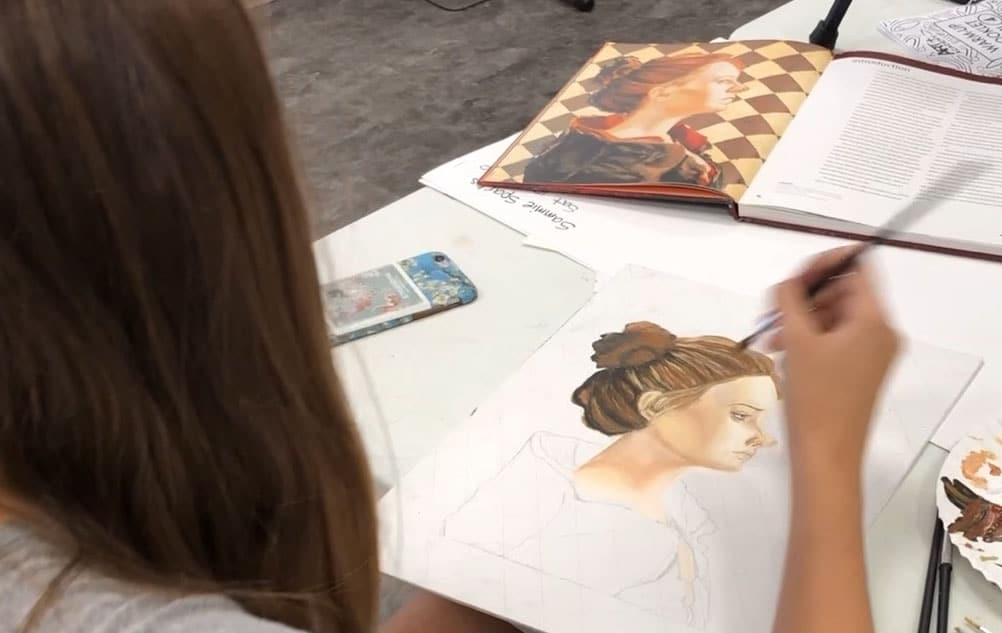 Teen art classes online and in studio