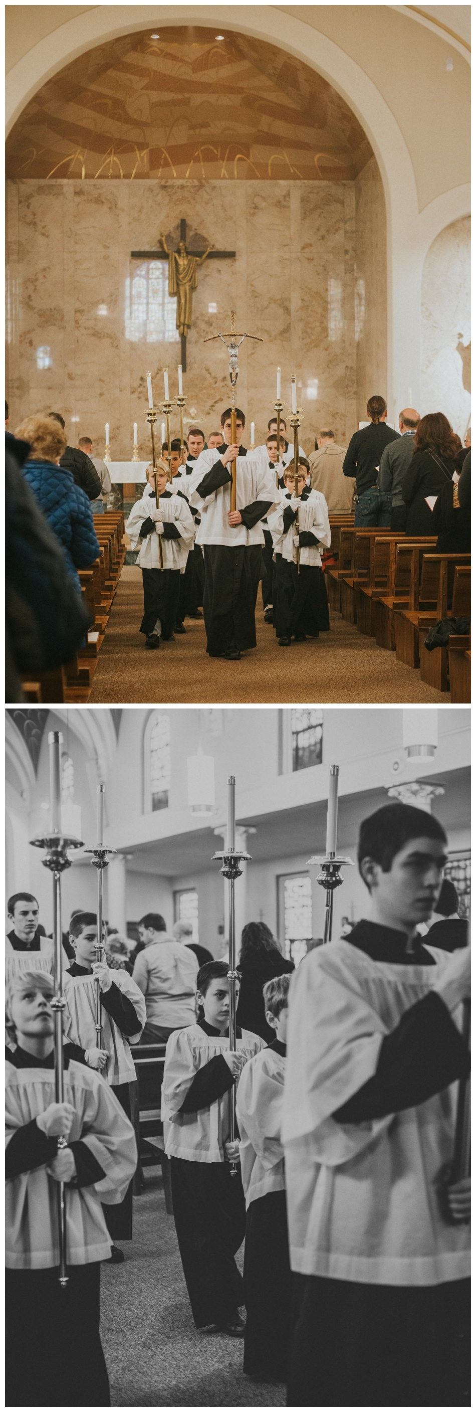 Alter boys walking with candles at Mass