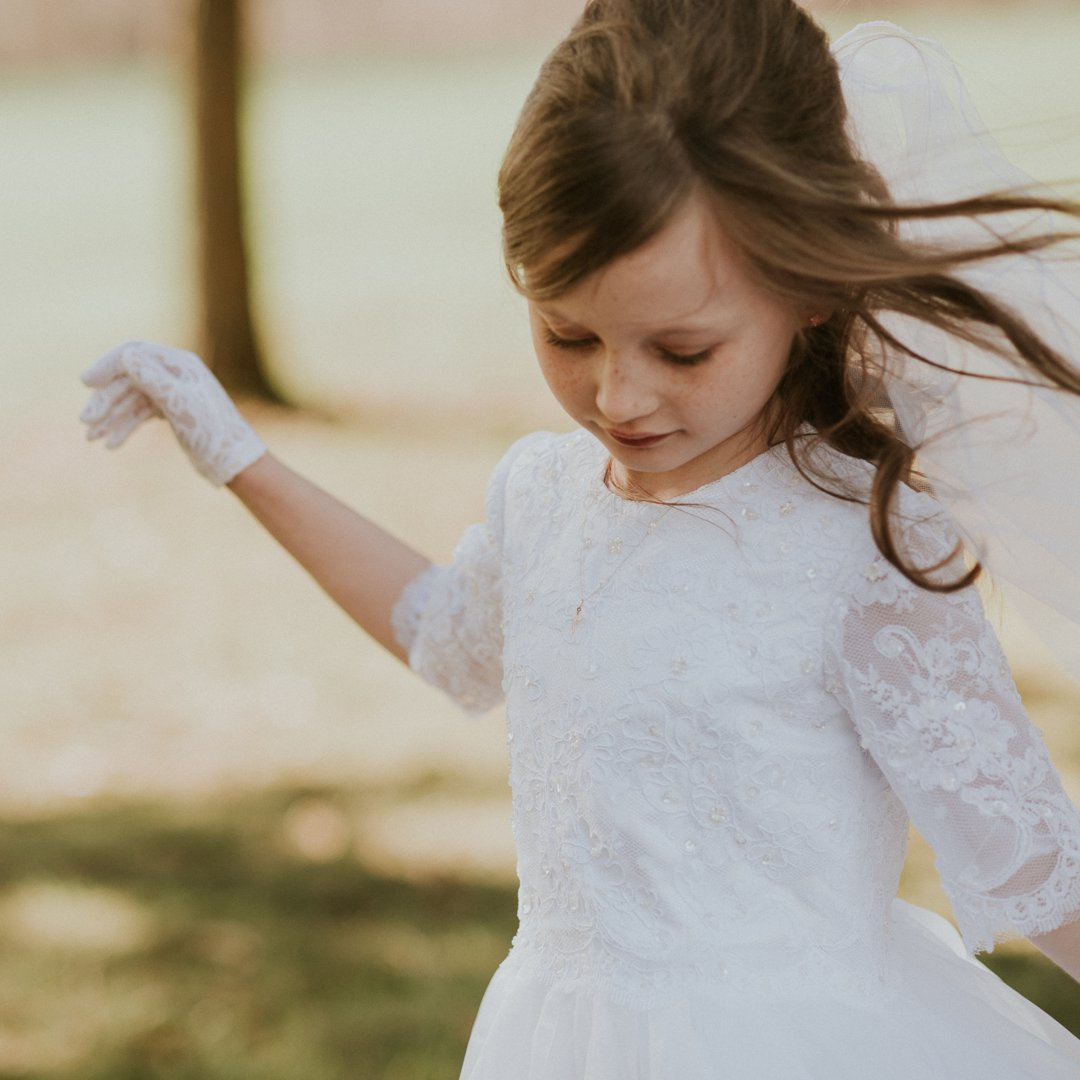 First Communion portrait of a Catholic girl