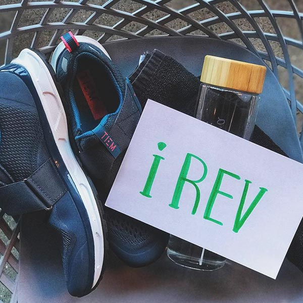 shoes towel waterbottle rev cycling community card