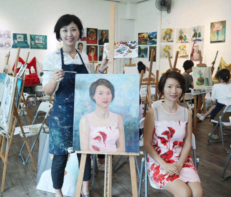 life portrait painting with oil painting, student at Visual Arts Centre