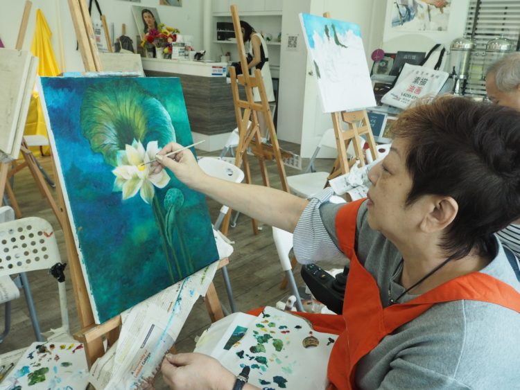 oil painting artwork lotus flower by student, visual arts centre oil painting/acrylic painting art commission
