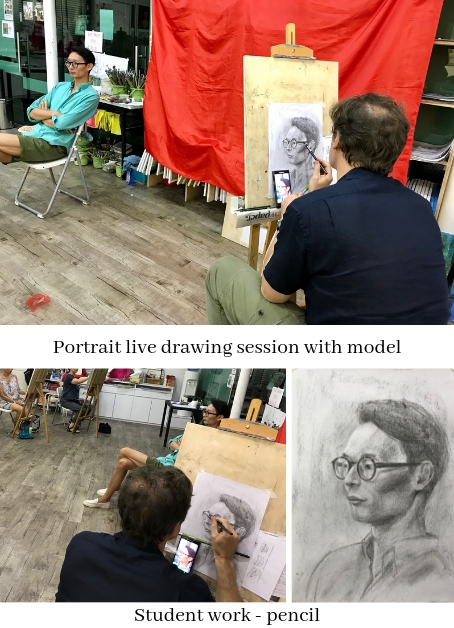 Portrait drawing in Singapore, observe and learn how to draw professionally!