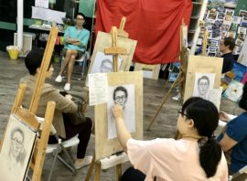 Portrait life drawing class at Visual Arts Centre, Best Portrait Drawing Course in Singapore
