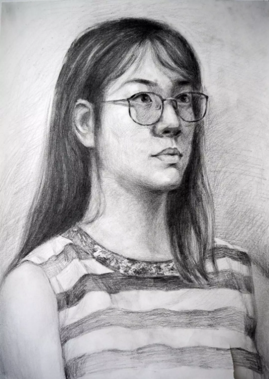 Portrait of a girl, life portrait drawing Singapore