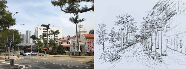 Landscape urban sketching course online with VAC ZOOM LIVE Art Sessions, Visual Arts Centre Singapore
