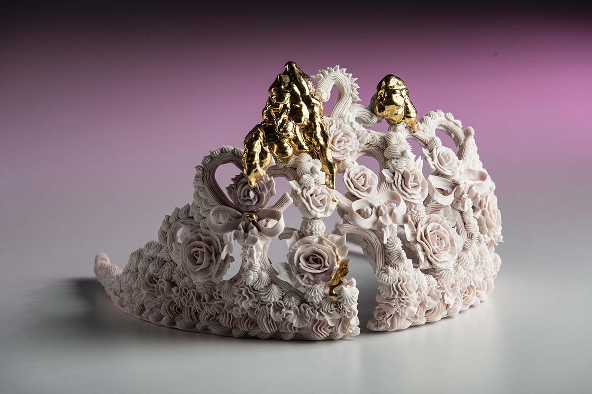 "Crown Sculpture by Ebony Russell. ""Piped Dreams - Pink Tiara (Nothing Breaks Like a Heart)"", High Fired Piped Lumina Porcelain, Stain, Glaze and Gold lustre, 16cm x 24cm x 30cm"