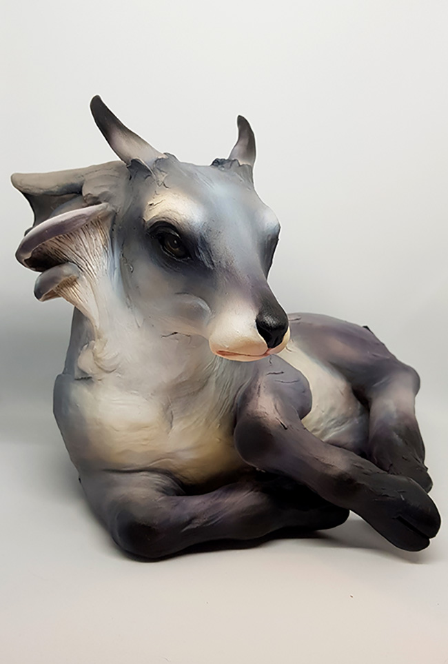 "Sculpture by Rosemaya Ripley. ""Fauna"", Clay (stoneware) and acrylics, 24cm x 28cm x 24cm"