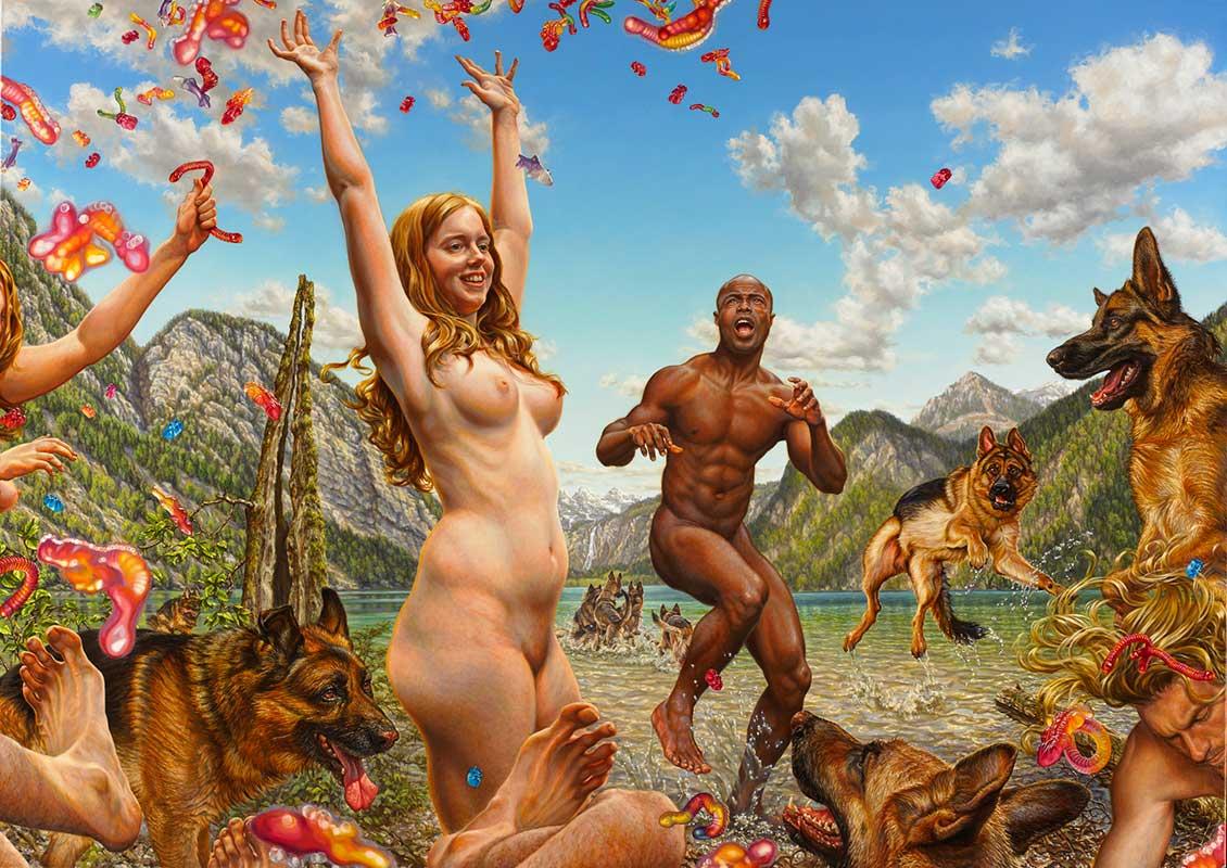 """Oil painting by Susannah Martin. """"Helium, The Day I Quit, Salon Dogs, Balztanz, Shepherd, Le Déjeuner Sur L´herbe, Copernican Twilight, Schmetterling, Reservoir"""" [Oil on Canvas, 100cm x 150cm]"""