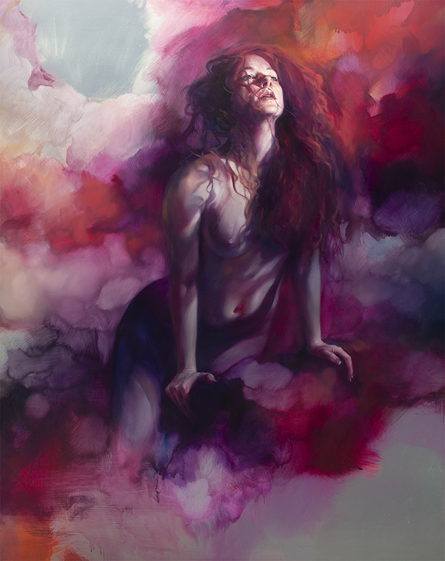"""Oil painting by Liz Gridley. """"After Anguish, Release"""" [Oil on Aluminium, 123 cm x 93cm]"""