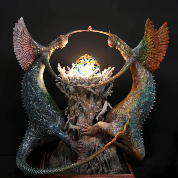 Akishi Ueda- two creatures surrounding orb - japanese sculptor - Art prize 2019 - sculpture award