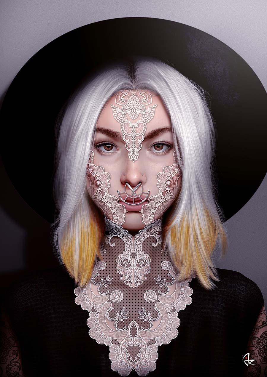 3427-Giulio Rossi-digital-portrait-lace-piercing-900