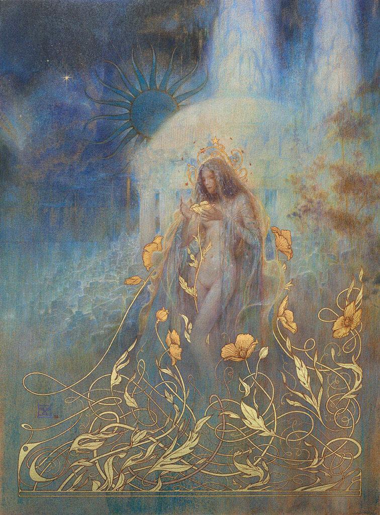 Yoann Lossel midnight garden nude woman