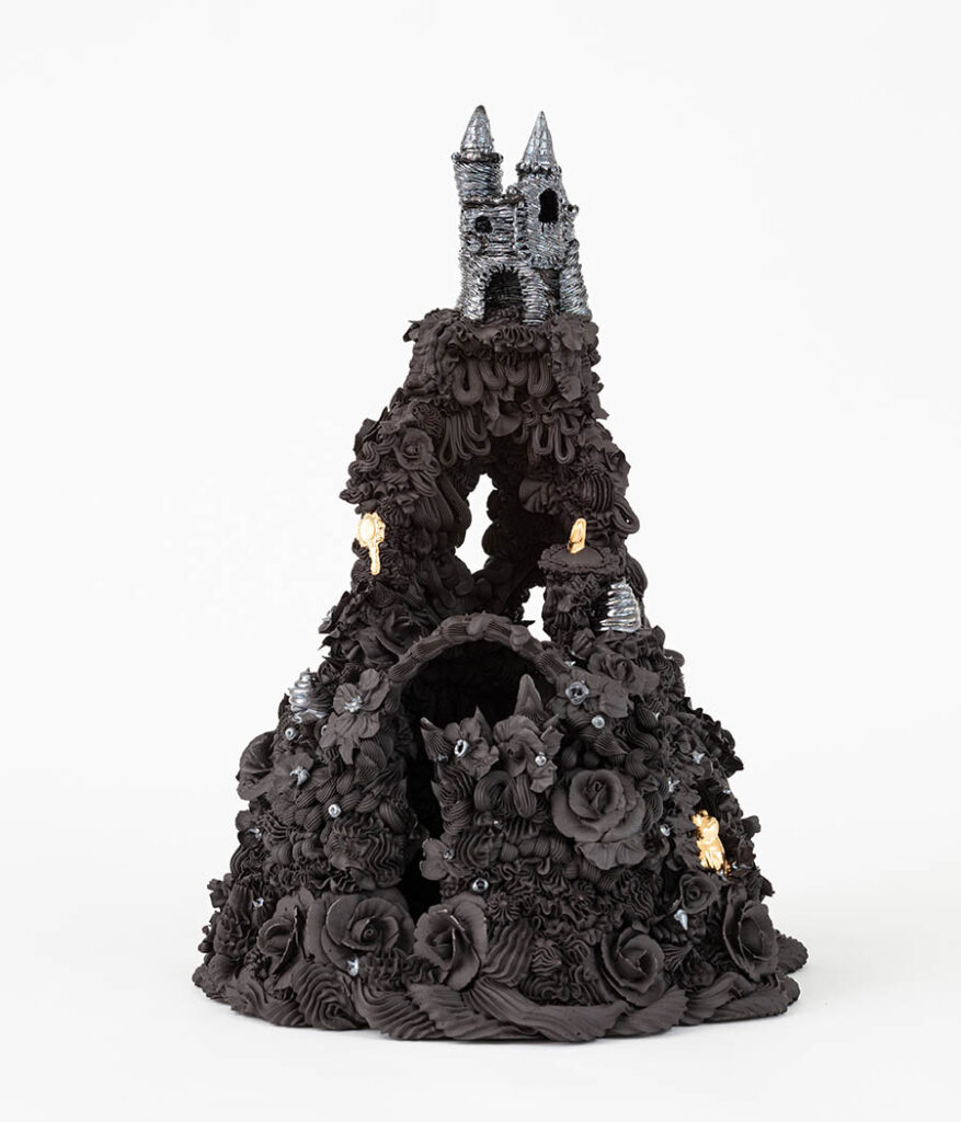 Ebony Russell black castle sculpture